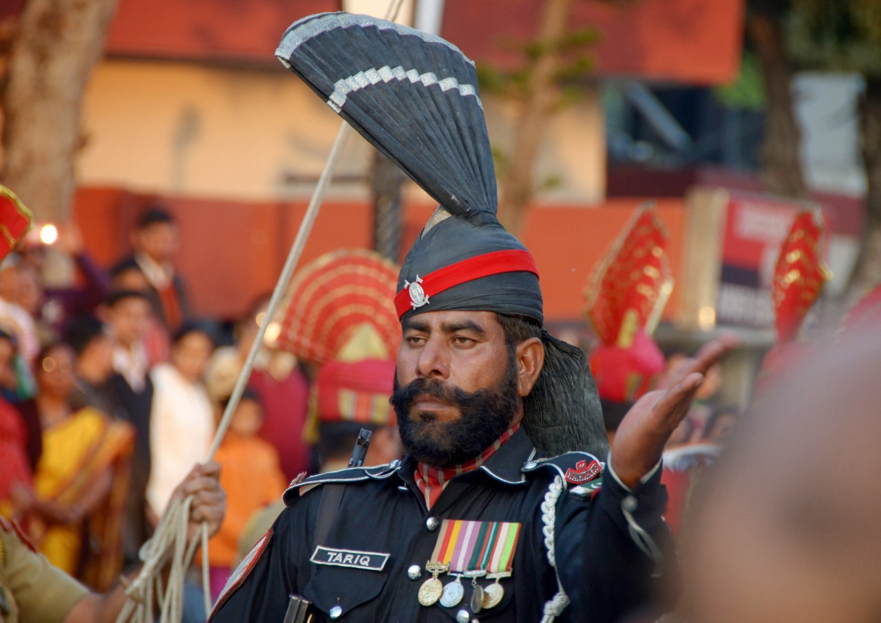 Wagah border between India and Pakistan